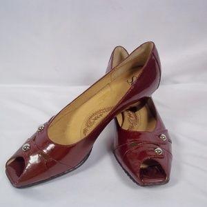 Sofft Dark Red SIMONE Peep Toe Low Heel Pumps NWOB
